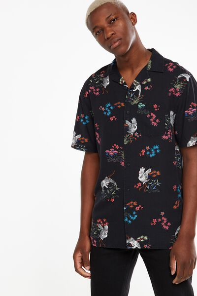 91 Short Sleeve Shirt, BLACK CRANE PRINT