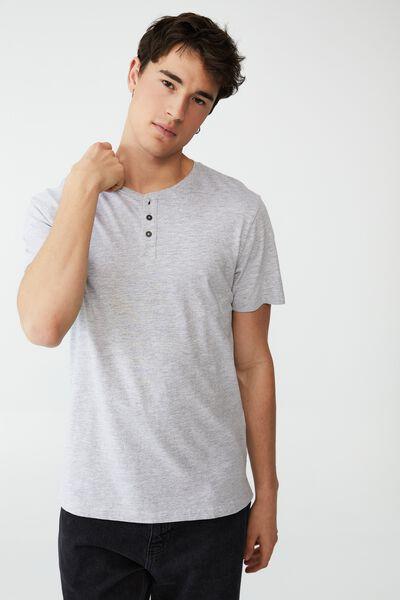 Organic Henley T-Shirt, LIGHT GREY MARLE