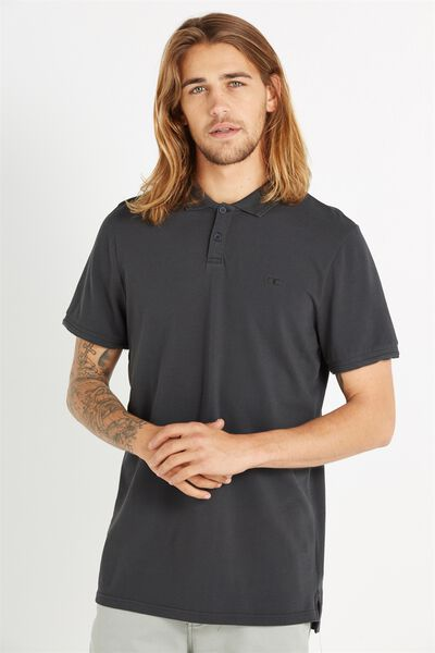 Short Sleeve Pigment Dyed Polo, BLACK
