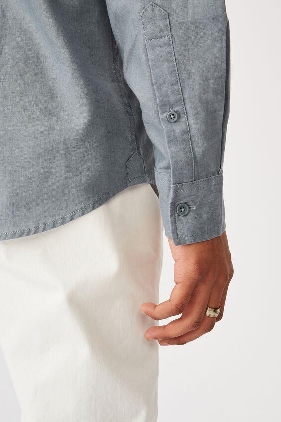 Linen Cotton Long Sleeve Shirt, BLUE HAZE