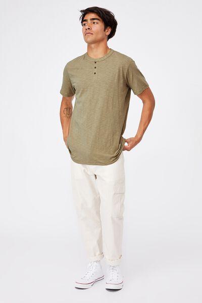 Slub Henley T-Shirt, MOSS STONE
