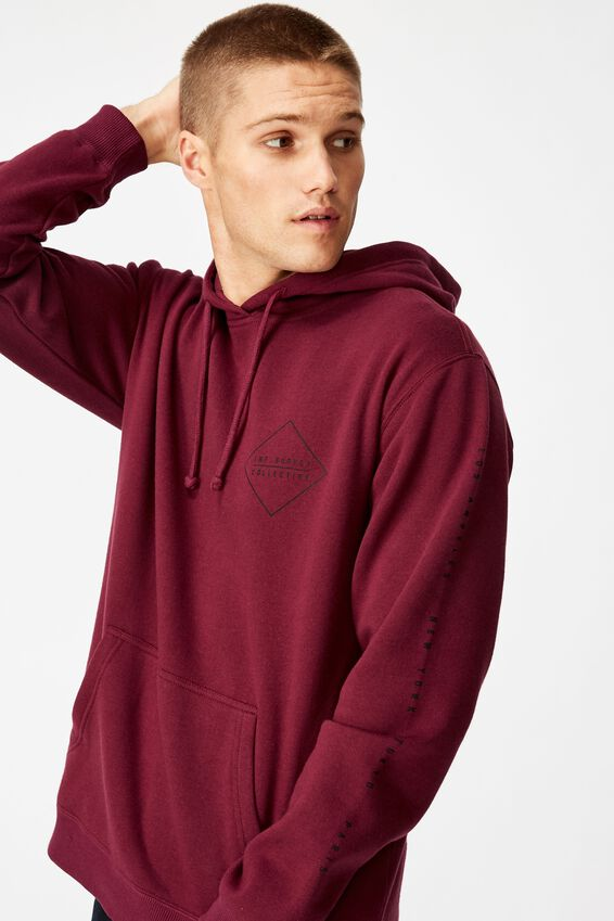 Fleece Pullover 2, PORT WINE/INT.SUPPLY