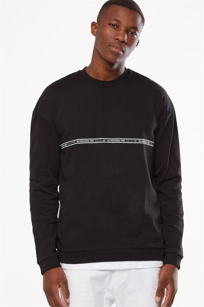 Drop Shoulder Crew Fleece, BLACK/NU NOUVEAU TAPE