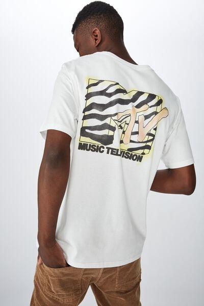 Tbar Collab Pop Culture T-Shirt, LCN MTV SK8 VINTAGE WHITE/MTV - ZEBRA LOGO