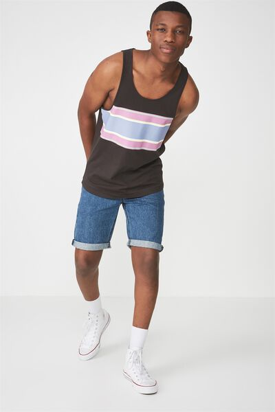 Tbar Tank, WASHED BLACK/CHEST BAND STRIPE