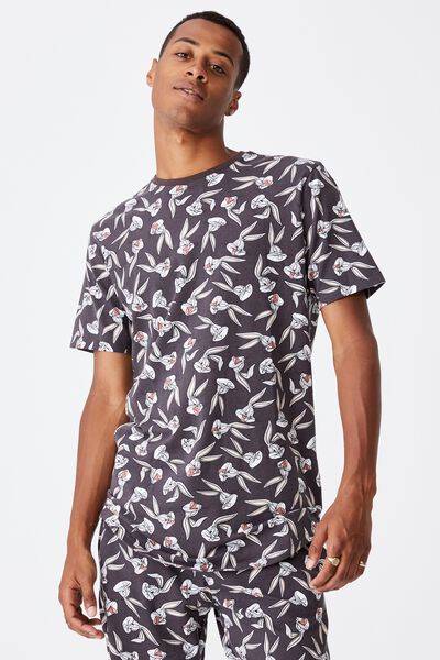 Longline Scoop Lounge T-Shirt, LCN WB BUGS BUNNY FACE PRINT - WASHED BLACK