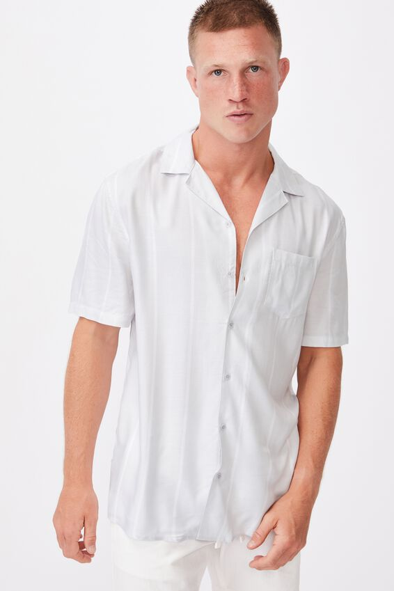 Textured Short Sleeve Shirt, GREY WHITE STRIPE