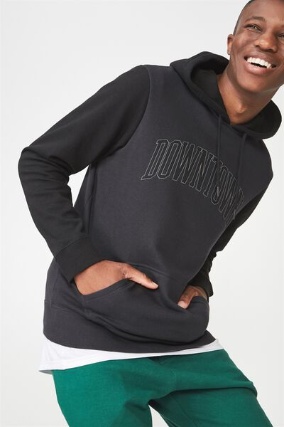 Fleece Pullover 2, WASHED BLACK/BLACK HOOD/BLACK SLEEVES