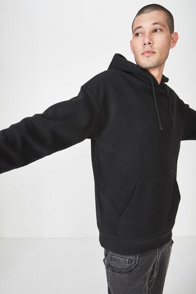 Drop Shoulder Pullover Fleece, BLACK/TEDDY PULLOVER