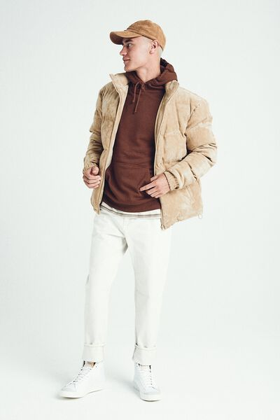 Suede Puffer Jacket, TAN