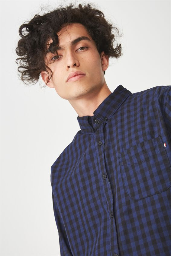 Brunswick Shirt 3, BLACK COBALT CHECK