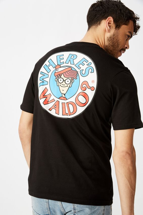 Tbar Collab Character T-Shirt, LCN UNI SK8 BLACK/WHERES WALDO - LOGO
