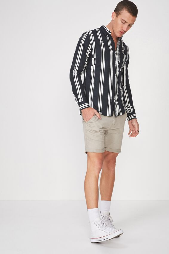 Brunswick Shirt 3, BLACK WHITE BOLD STRIPE