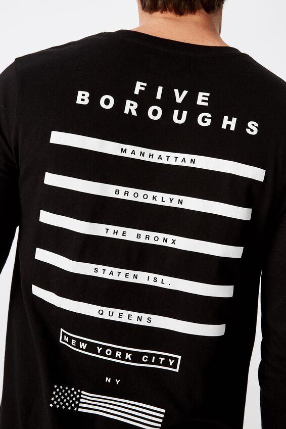 Long Sleeve Curved Hem, BLACK/5 BOROUGHS NYC
