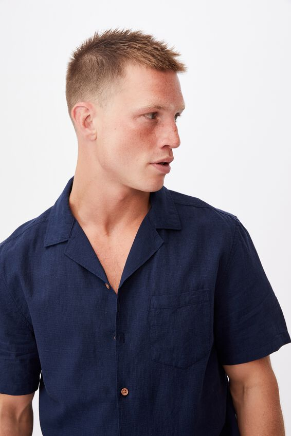 Textured Short Sleeve Shirt, NAVY