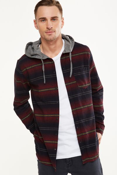 Rugged Hooded Shirt, RED NAVY STRIPE