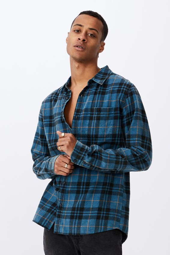 Washed Long Sleeve Check Shirt, BLUE CHECK