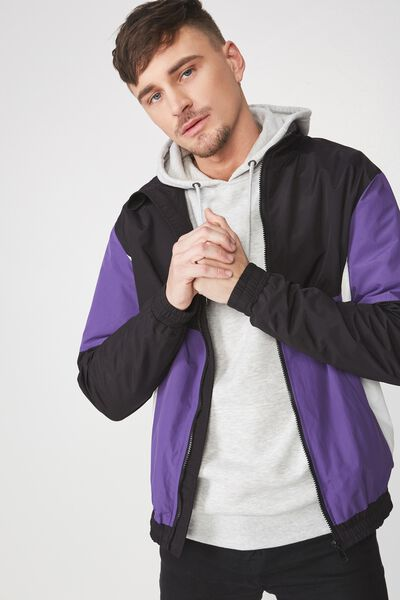 Retro Track Jacket, BLACK/PURPLE