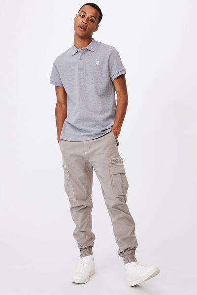 Essential Short Sleeve Polo, GREY MARLE