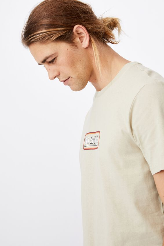 Tbar Text T-Shirt, PALE SAND/NO STRESS