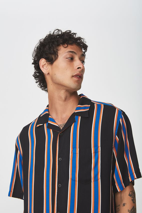 Festival Shirt, BLACK BLUE ORANGE POP STRIPE