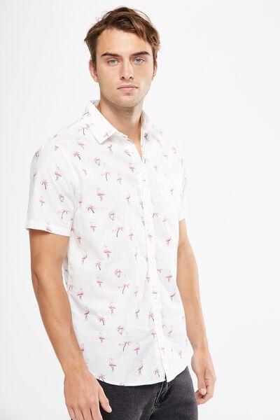 Vintage Prep Short Sleeve Shirt, WHITE FLAMINGO
