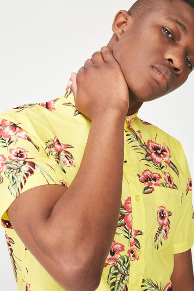Short Sleeve Resort Shirt, YELLOW FLORAL
