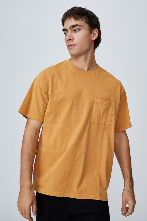 Washed Pocket T-Shirt, BUCKSKIN GOLD