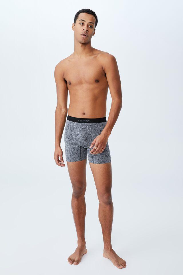 Mens Seamless Long Leg Trunks, CHARCOAL MARLE/BLACK