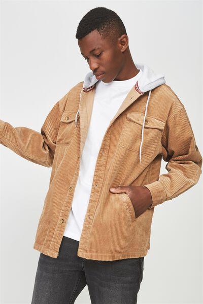 Hooded Cord Shirt, TAN