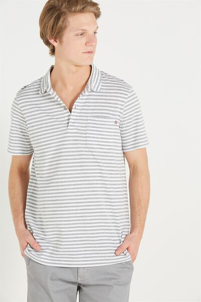 Short Sleeve Prep Polo Slim Fit, GREY STRIPE