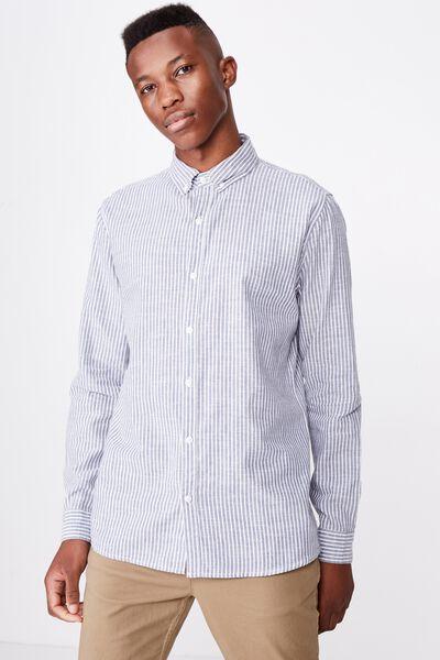 Premium Linen Cotton Long Sleeve Shirt, NAVY FINE STRIPE