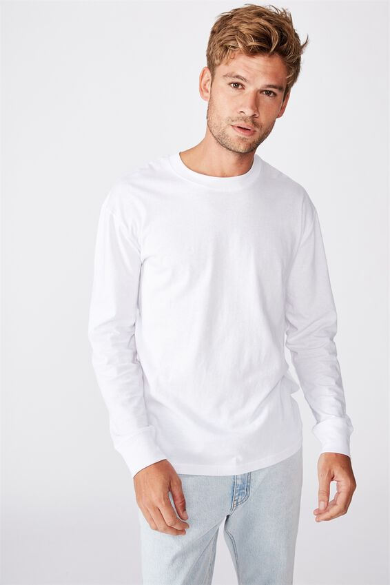 Tbar Long Sleeve T-Shirt, WHITE