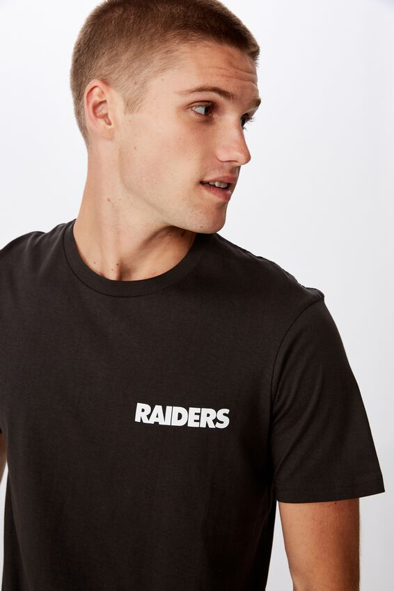 Tbar Collab Pop Culture T-Shirt, LCN NFL WASHED BLACK/RAIDERS SHIELD