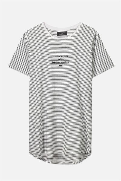 Longline Scoop Hem Tee, WHITE/BLACK MINI STRIPE/WEEKDAYS STUDIO