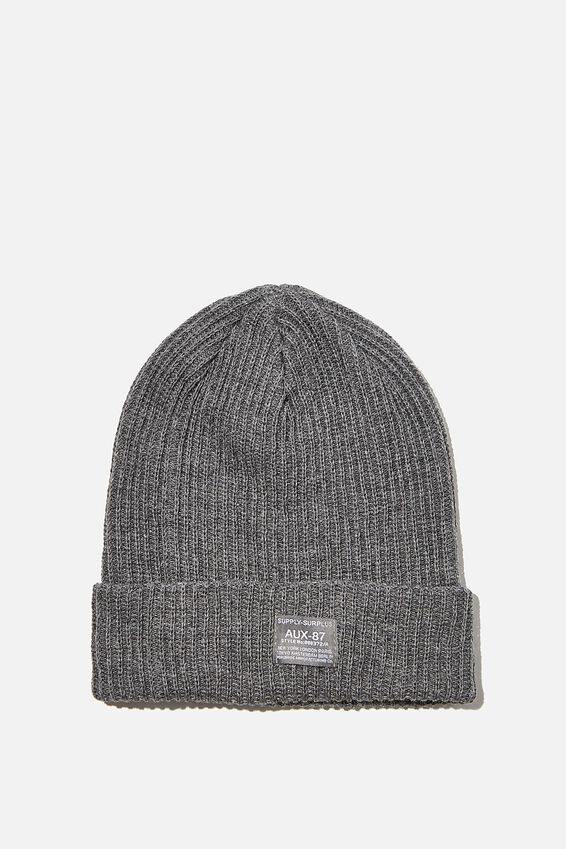 Basic Ribbed Beanie, GREY MARLE/SUPPLY SURPLUS