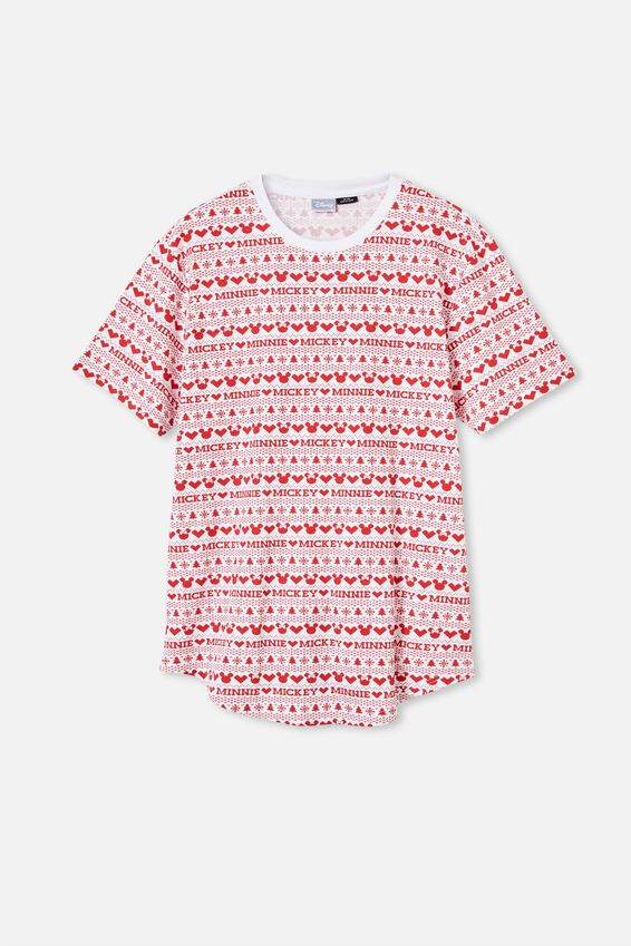 Longline Scoop Graphic Waffle T-Shirt, LCN DIS MICKEY & MINNIE FAIR ISLE RED