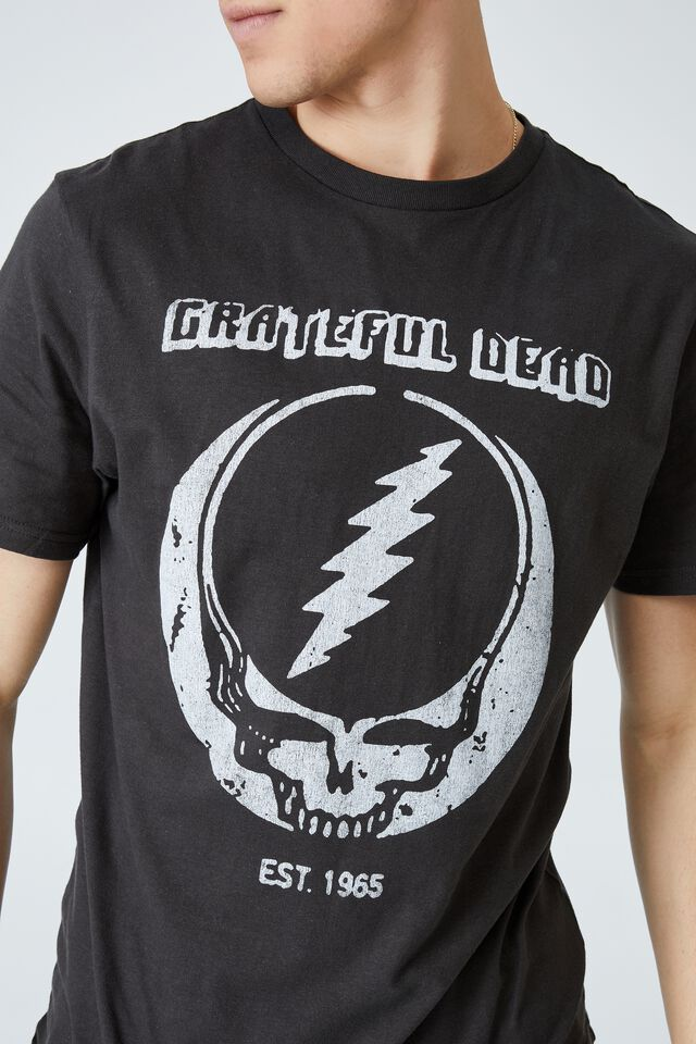 Tbar Collab Music T-Shirt, LCN WMG WASHED BLACK/GRATEFUL DEAD - 1965