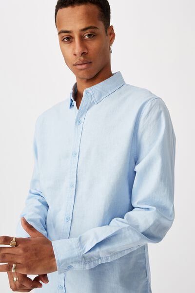 Linen Cotton Long Sleeve Shirt, BRIGHT SKY