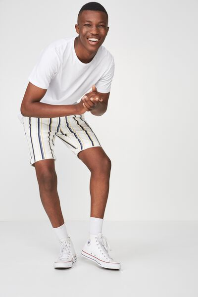 Washed Chino Short, WHITE/NAVY/YELLOW STRIPE