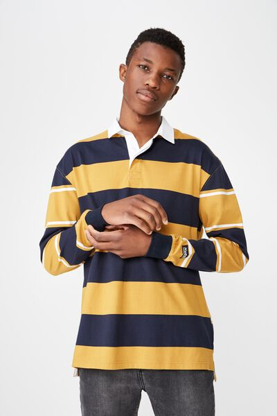 Rugby Polo, NAVY YELLOW BOLD STRIPE