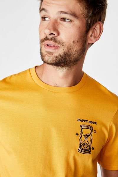 Tbar Art T-Shirt, AGED YELLOW/HAPPY HOUR GLASS