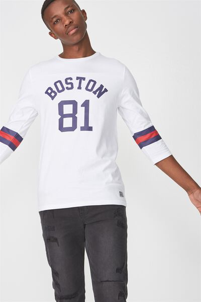 Tbar 3/4 Baseball Tee, WHITE/INK NAVY/RED/BOSTON 81 STRIPE