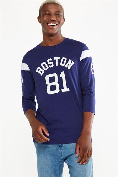 Tbar 3/4 Baseball Tee, DEEP WISTERIA/BOSTON 81