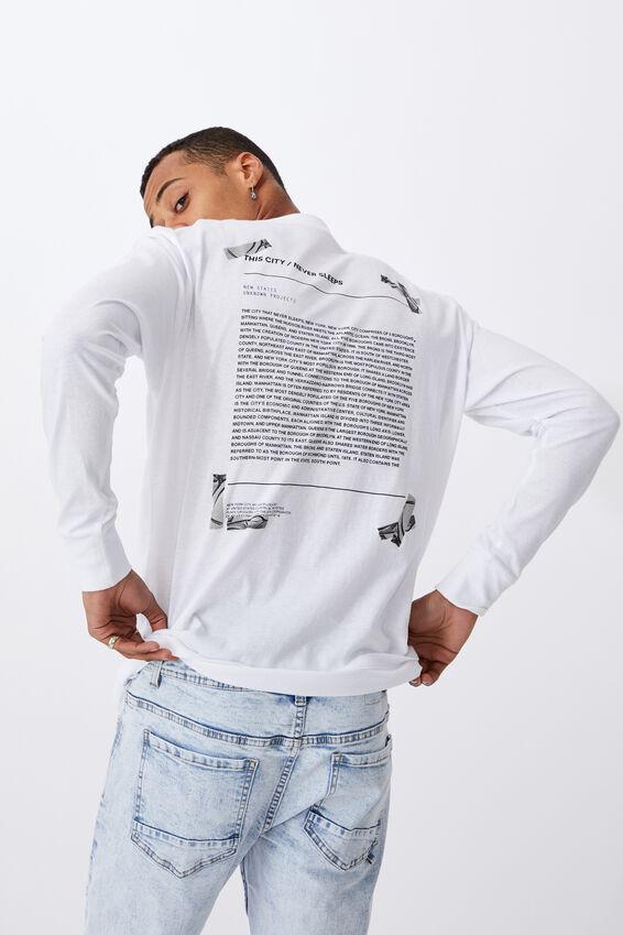 Tbar Long Sleeve T-Shirt, WHITE/NO GOING BACK TAPE