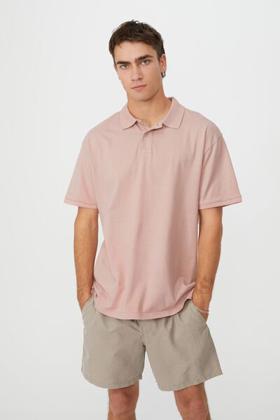 Oversized Washed Polo, DIRTY PINK