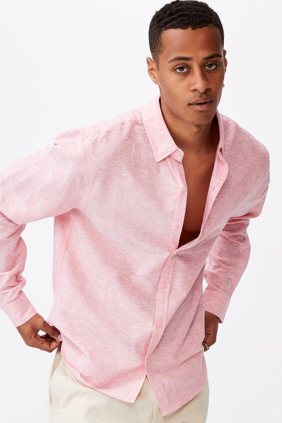 Linen Cotton Long Sleeve Shirt, BRICK RED