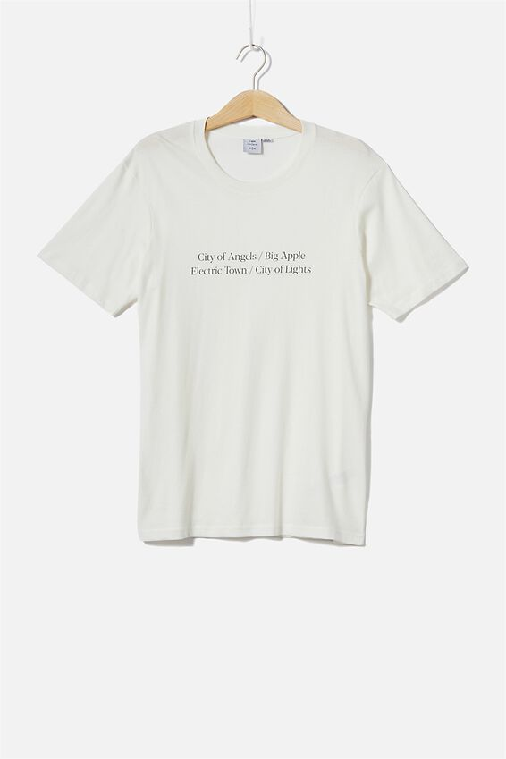 Tbar Text T-Shirt, VINTAGE WHITE/CITY OF LIGHTS