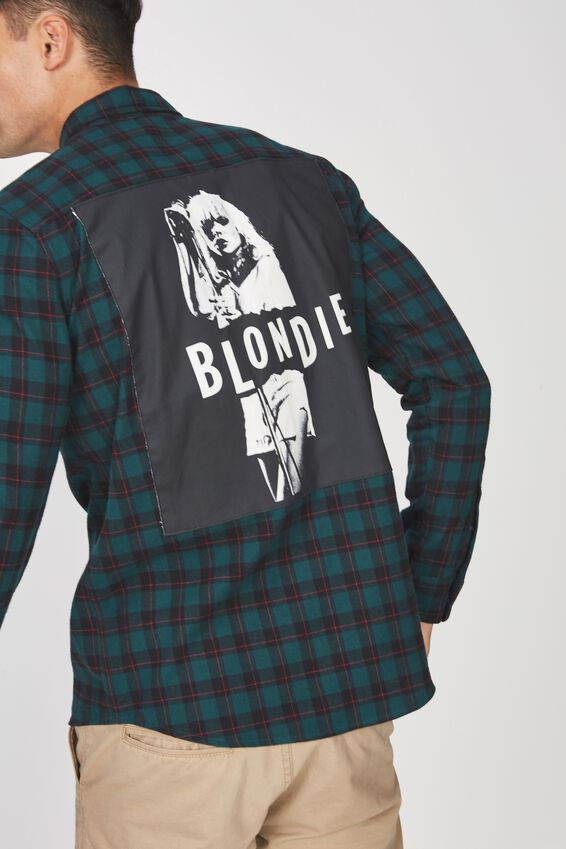 Rugged Long Sleeve Collaboration Shirt, GREEN CHECK/BLONDIE