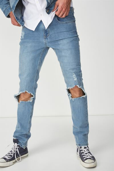 Slim Fit Jean, MID WEST BLUE + RIPS